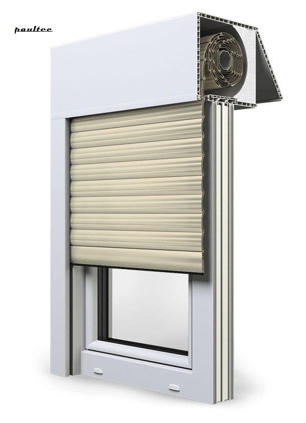 14 Elfenbein hell Fenster Rollladen EXAKT Exte Aufsatzrollladen Aufbaurollladen