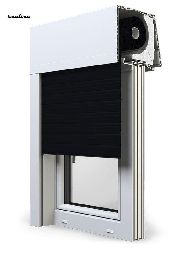 18 Schwarz Fenster Rollladen Elite XT Exte Aufsatzrollladen Aufbaurollladen