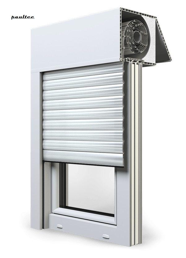 2 Weiß Fenster Rollladen EXAKT Exte Aufsatzrollladen Aufbaurollladen