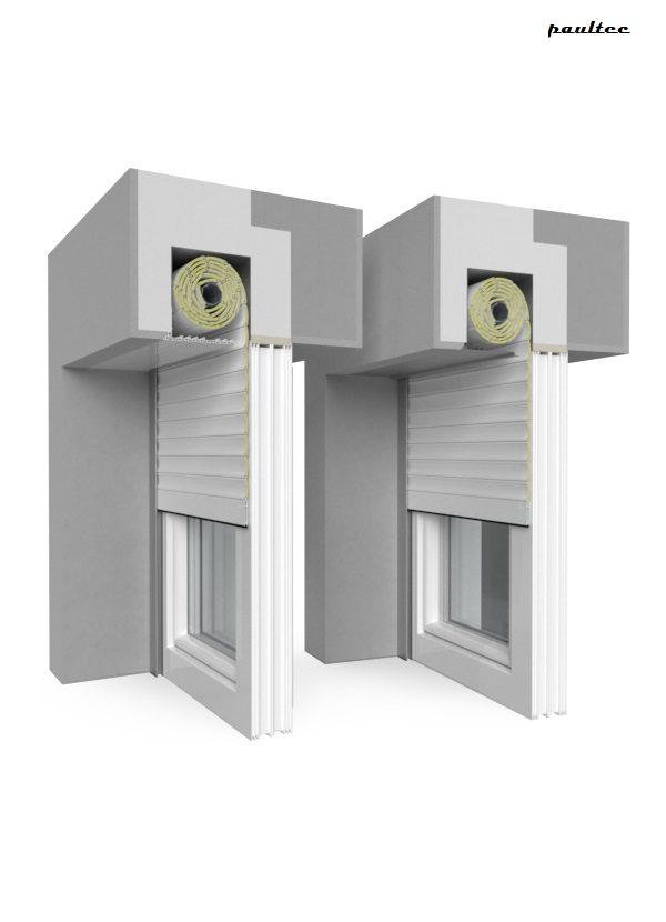 2 Weiß Fenster Rollladen QuadBox Unterputzrollladen BeClever
