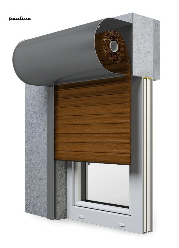 23 goldene Eiche Fenster Rollladen SKO-P Vorbaurollladen Aluprof