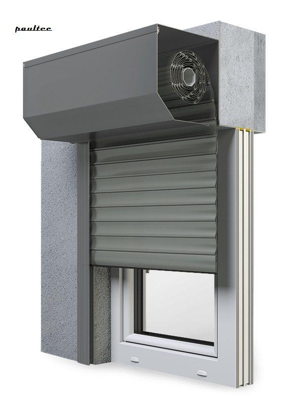 27 Betongrau Fenster Rollladen SK 45 Vorbaurollladen Aluprof