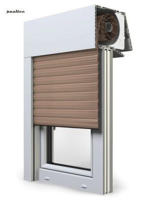 4 Dunkel\beige Fenster Rollladen EXPERT XT Exte Aufsatzrollladen Aufbaurollladen