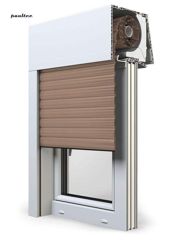 4 Dunkelbeige Fenster Rollladen Elite XT Exte Aufsatzrollladen Aufbaurollladen