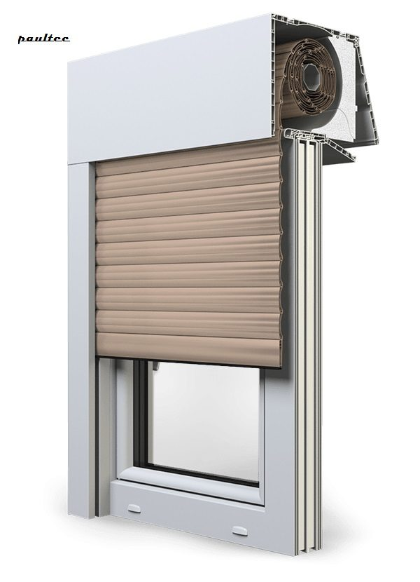 5 beige Fenster Rollladen EXPERT XT Exte Aufsatzrollladen Aufbaurollladen