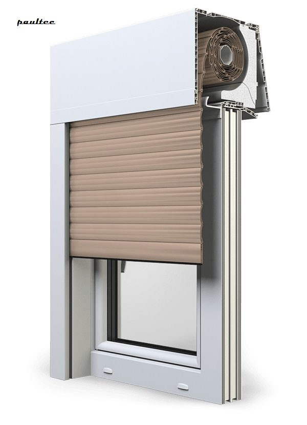 5 beige Fenster Rollladen Elite XT Exte Aufsatzrollladen Aufbaurollladen