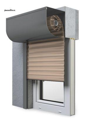 5 beige Fenster Rollladen SKP Vorbaurollladen Aluprof