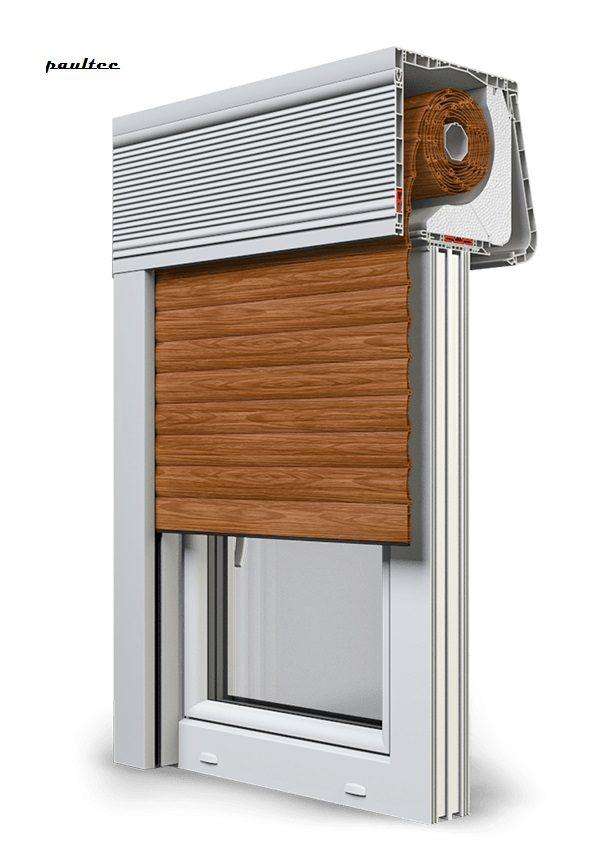 6 Holz dunkel Fenster Rollladen CleverBox Soft Beclever