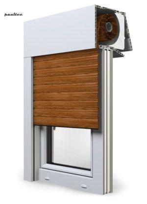6 Holz dunkel Fenster Rollladen EXPERT XT Exte Aufsatzrollladen Aufbaurollladen