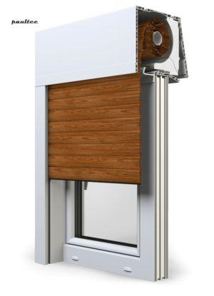 6 Holz dunkel F\enster Rollladen Elite XT Exte Aufsatzrollladen Aufbaurollladen