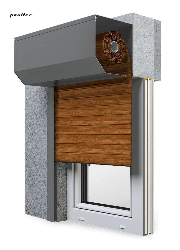 6 Holz dunkel Fenster Rollladen SK 45 Vorbaurollladen Aluprof
