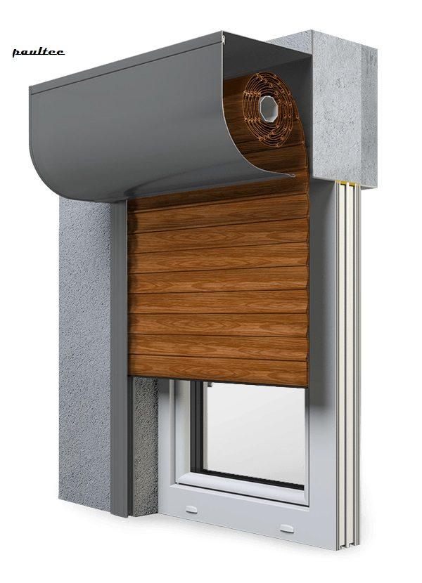 6 Holz dunkel Fenster Rollladen SKP Vorbaurollladen Aluprof