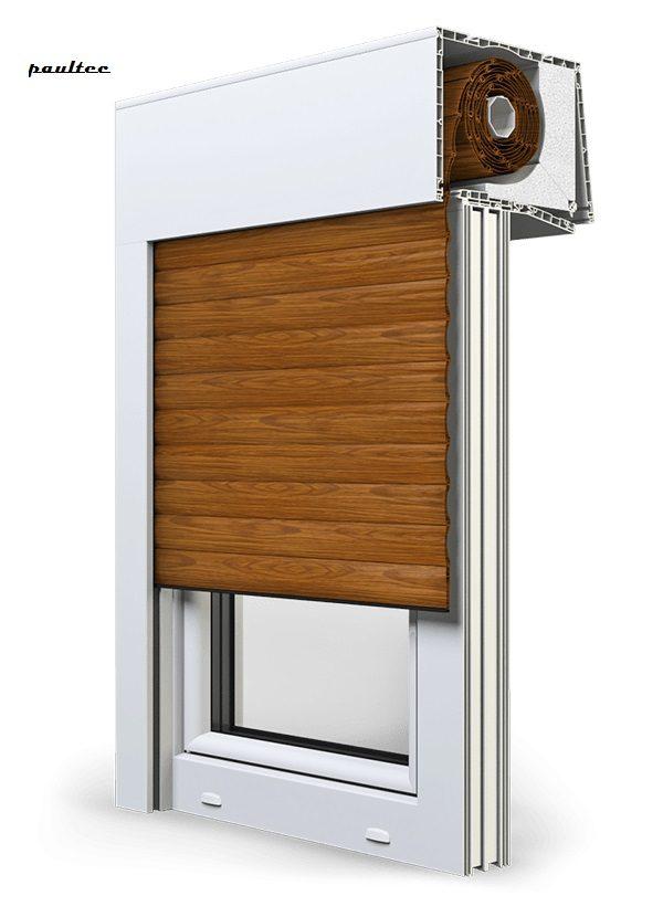 6 Holz dunkel Fenster Rollladen SKT Opoterm Aluprof