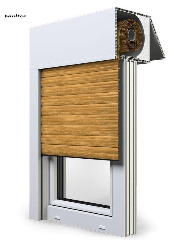 7 Holz hell Fenster Rollladen EXAKT Exte Aufsatzrollladen Aufbaurollladen