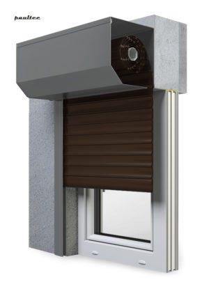 8 Dunkelbraun Fenster Rollladen SK 45 Vorbaurollladen Aluprof