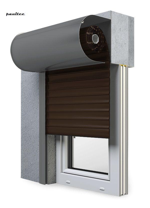 8 Dunkelbraun Fenster Rollladen SKO-P Vorbaurollladen Aluprof