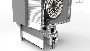 Box mit einem einrollbaren Insektenschutznetz zwischen dem Fenster und dem Rollladenpanzer (zusätzlicher Netzschutz)